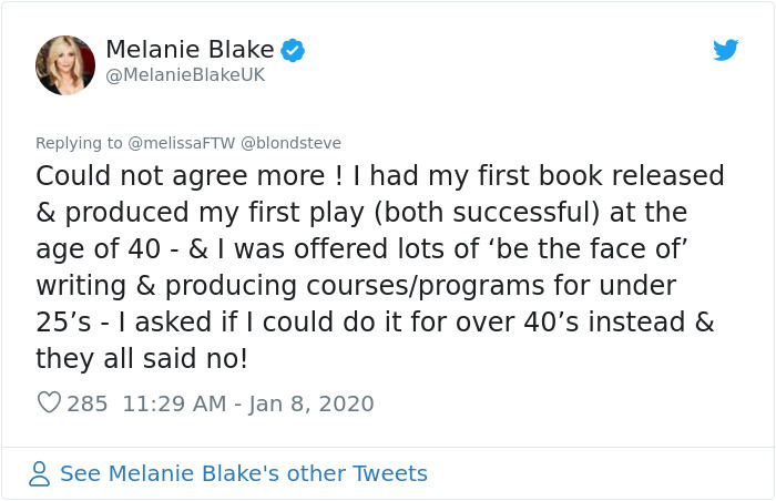 people succeed late in life melanie blake
