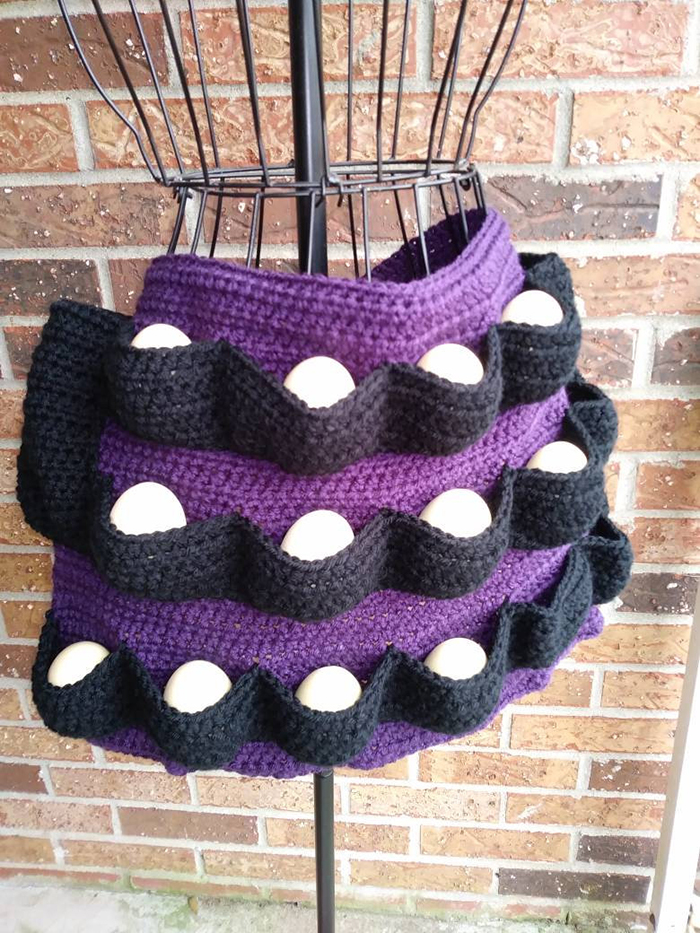 pre-made crochet egg apron purple black