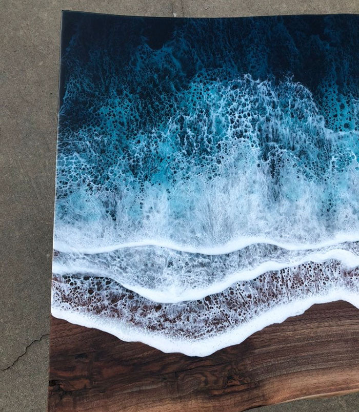 resin waves on wooden table