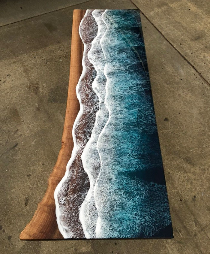 rivka wilkins ocean wave resin design on wooden table