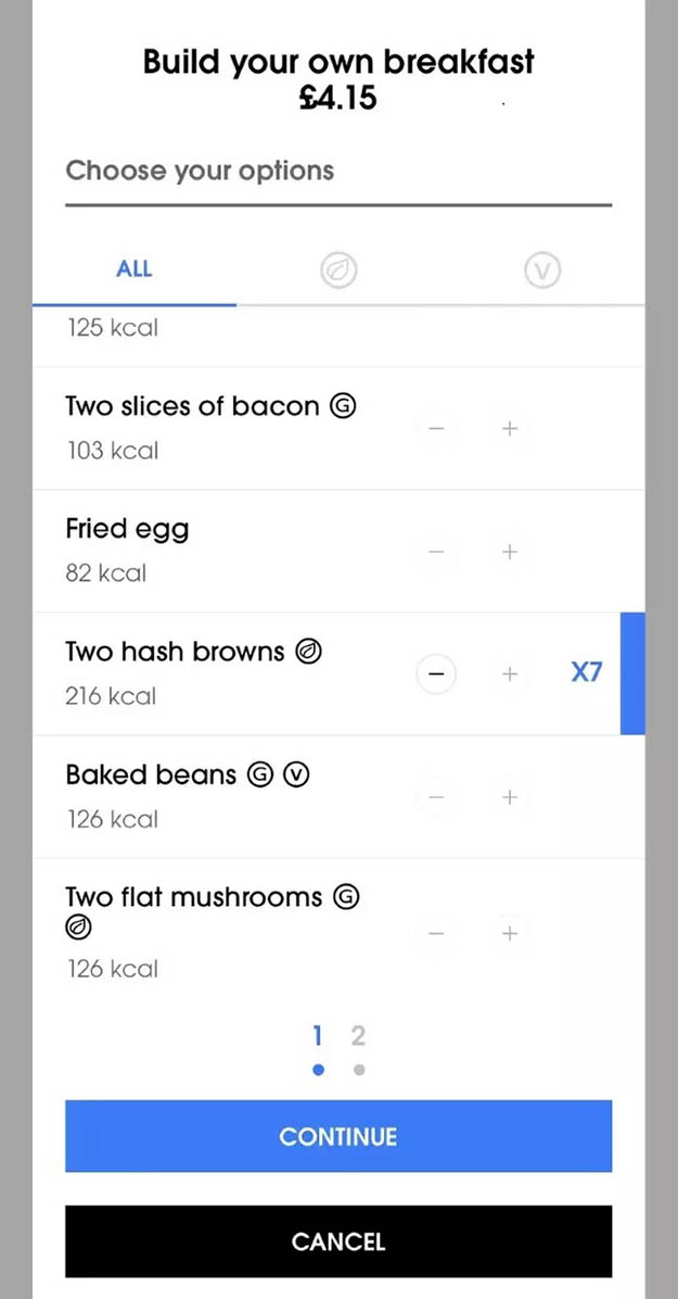 screenshot of the build-your-own breakfast option on the wetherspoon app