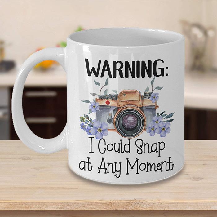 snap at any moment funny ceramic mug