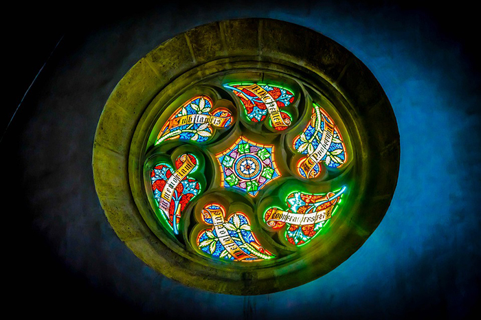 stained glass church window circular frame
