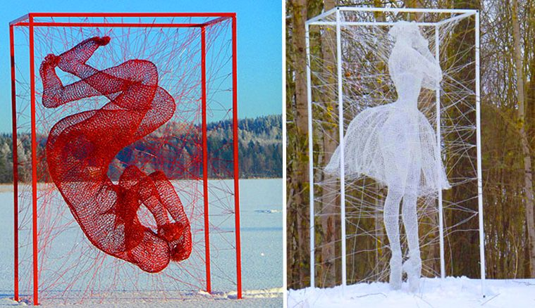 steel wire Sculptures in boxes