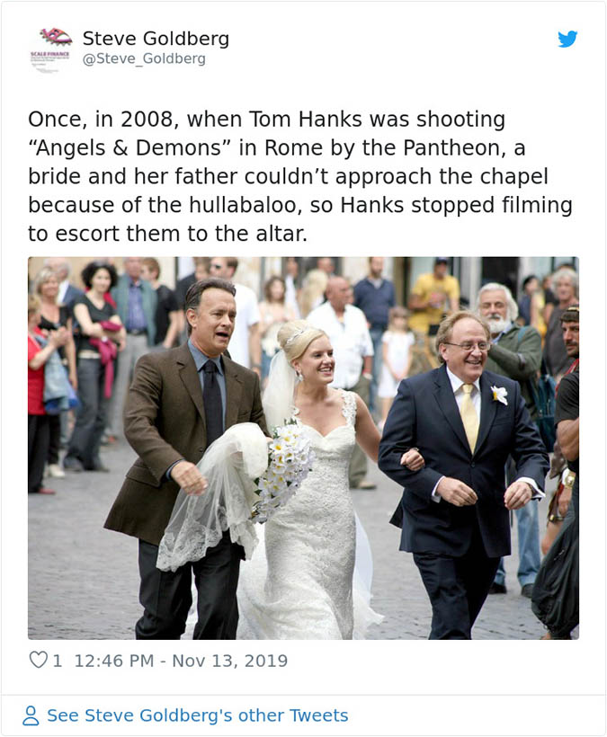 tom hanks escorts a bride to her wedding