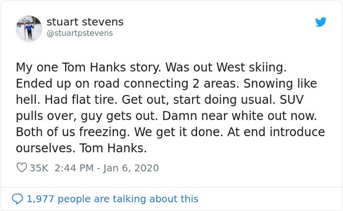 tom hanks helps guy fix a flat tire