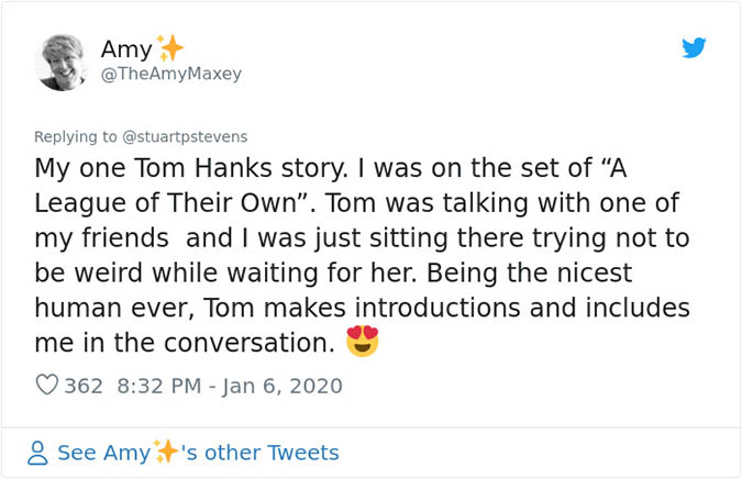 tom hanks includes a fan in a conversation
