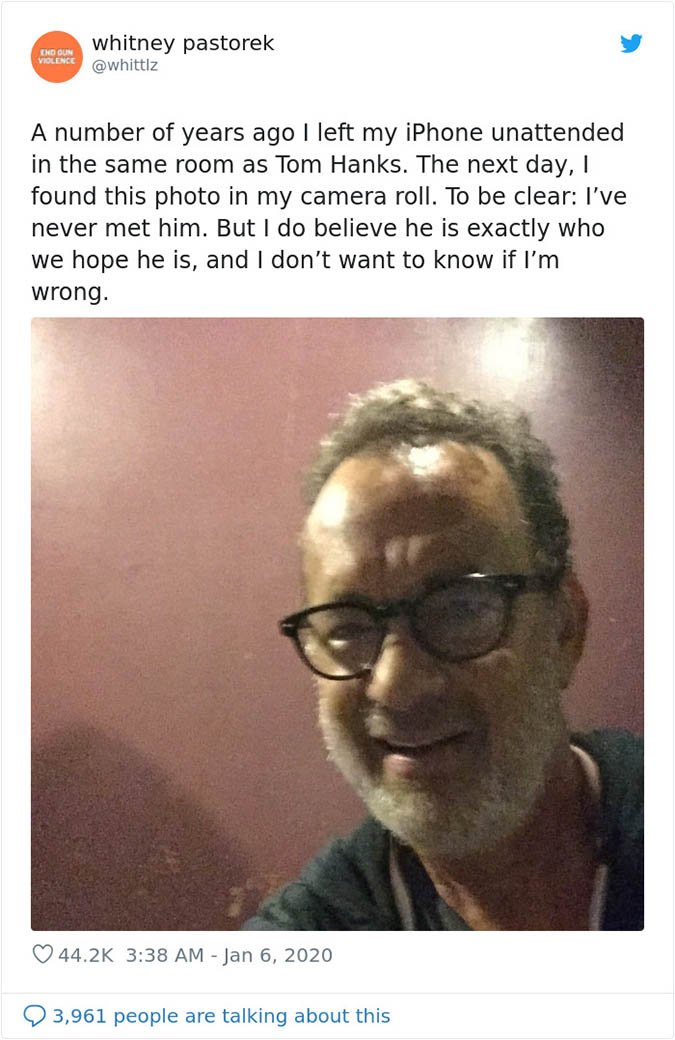 tom hanks leaves a selfie on a phone someone left behind