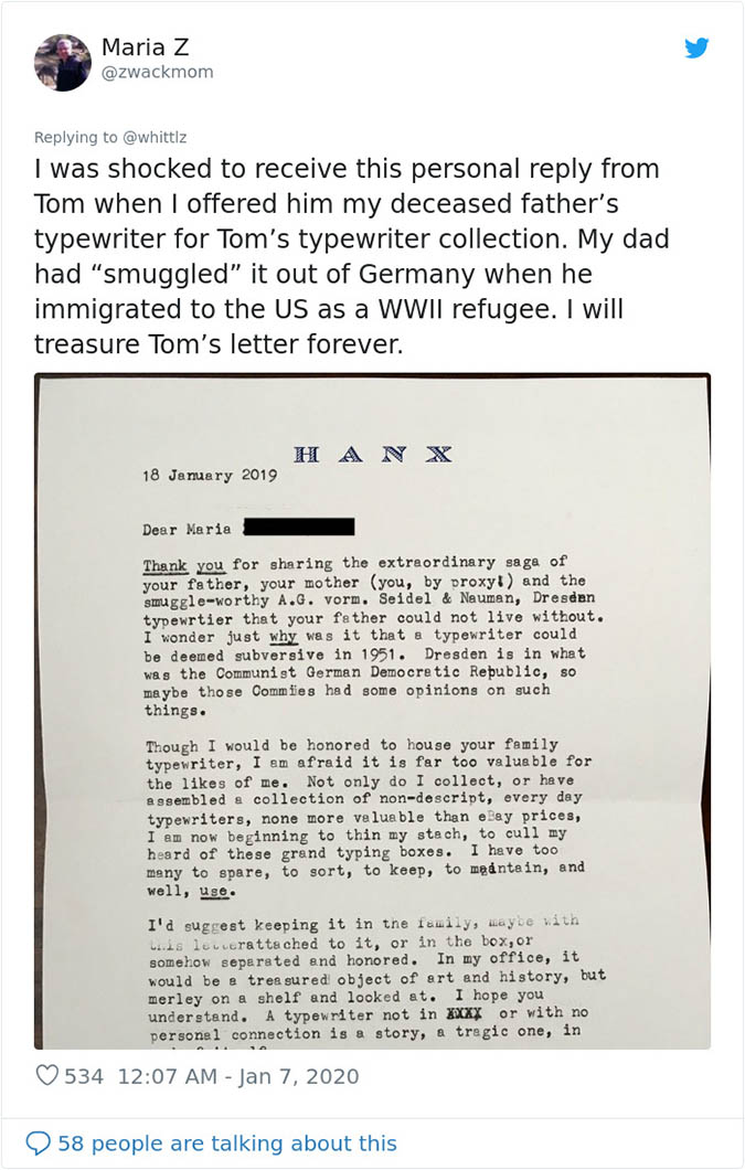 tom hanks thanks a fan for the typewriter with a typewritten letter