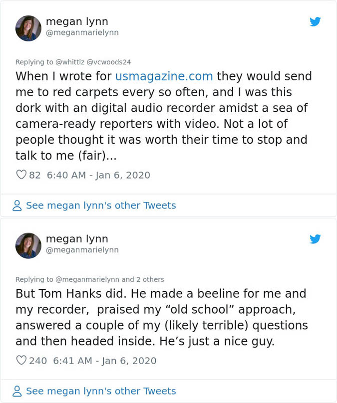 tom praises writer for her old school approach