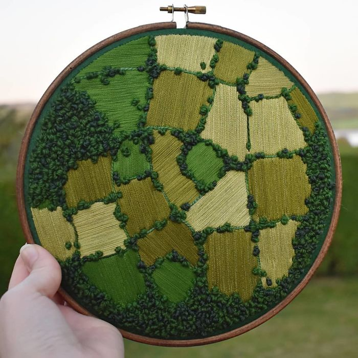 victoria richards embroidery painting aerial farm patchwork