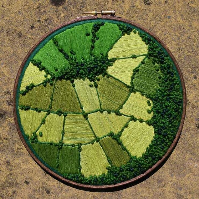 victoria richards embroidery painting aerial farmland