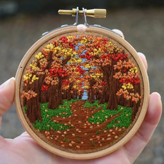 victoria richards embroidery painting autumn