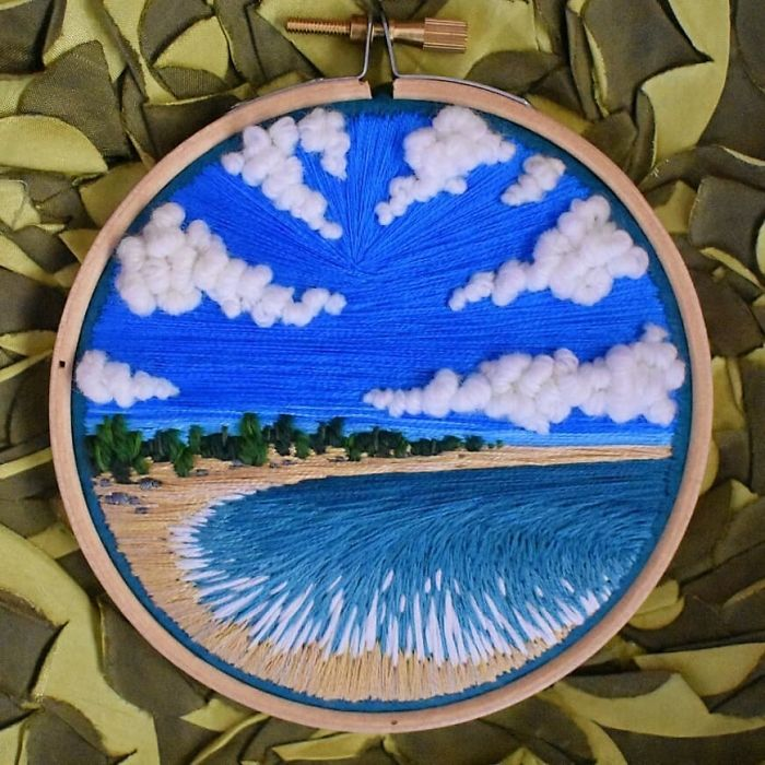 victoria richards embroidery painting coastline