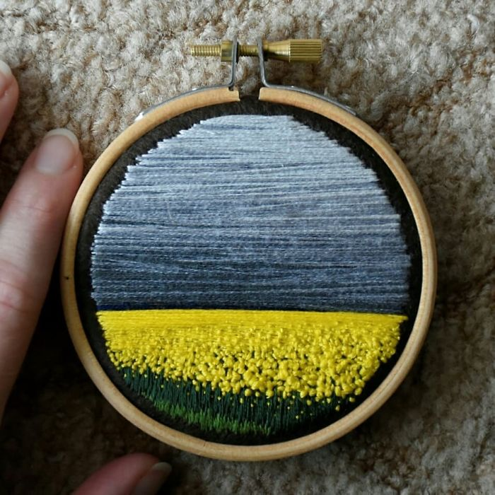 victoria richards embroidery painting flower field