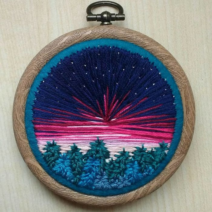 victoria richards embroidery painting sunset