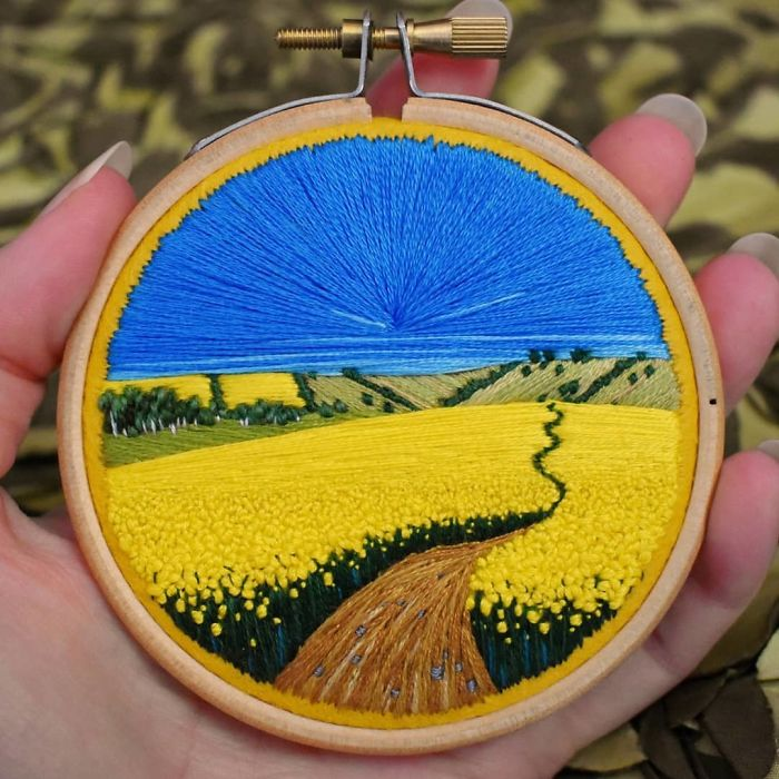 victoria richards embroidery painting yellow flowers