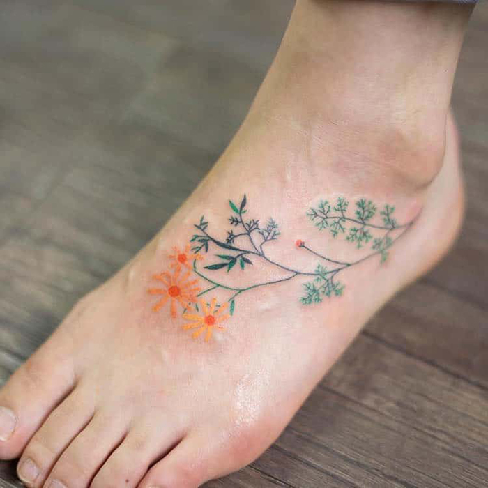 zihee tattoo watercolor floral tattoos foot