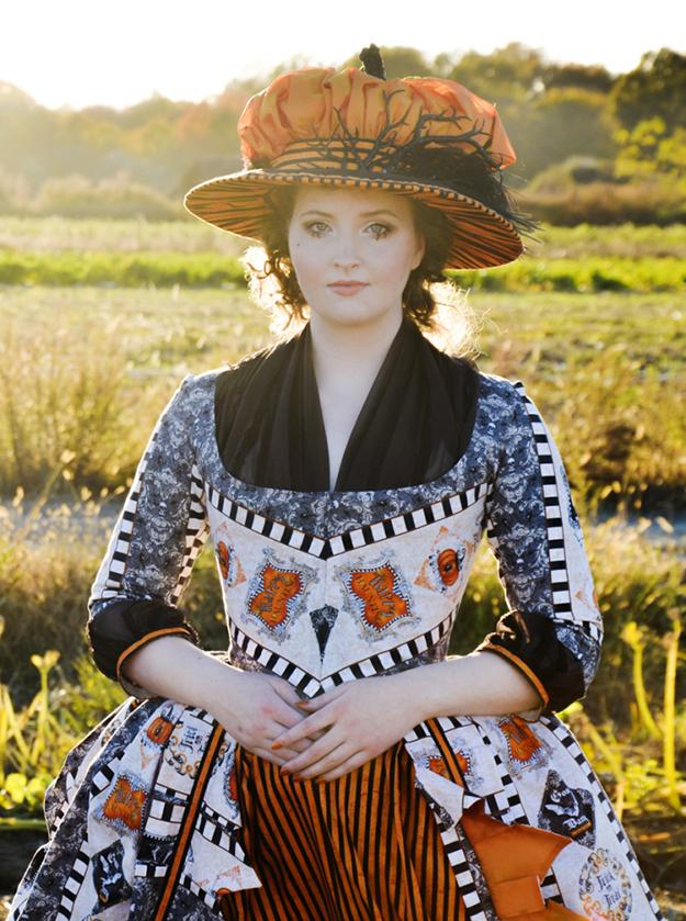 18th century ensemble with pumpkin hat