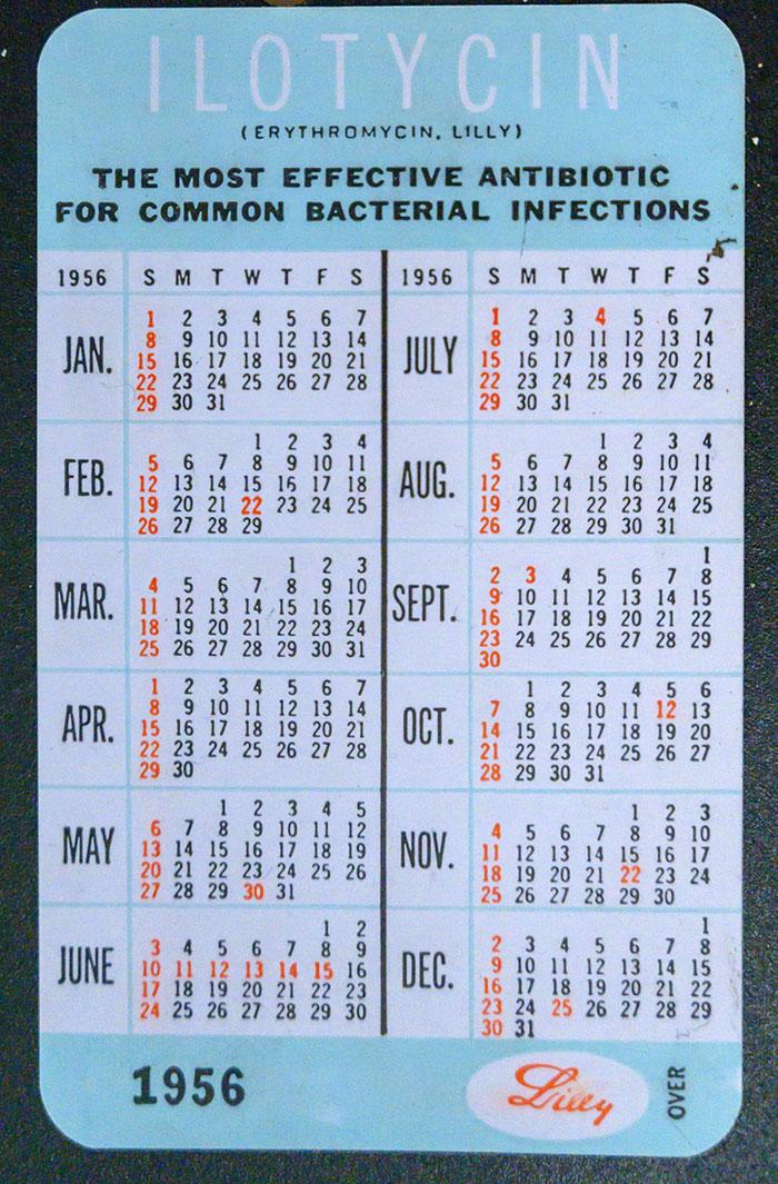 1956 Pocket Calendar from Ilotycin