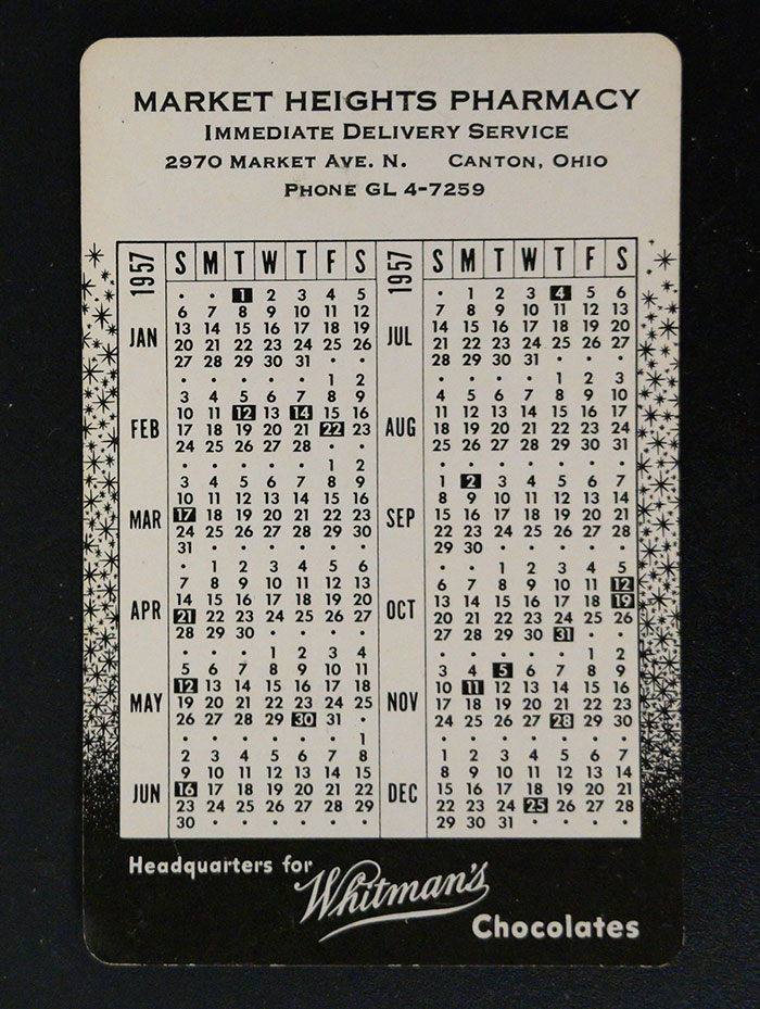 1957 Pocket Calendar from Market Heights Pharmacy