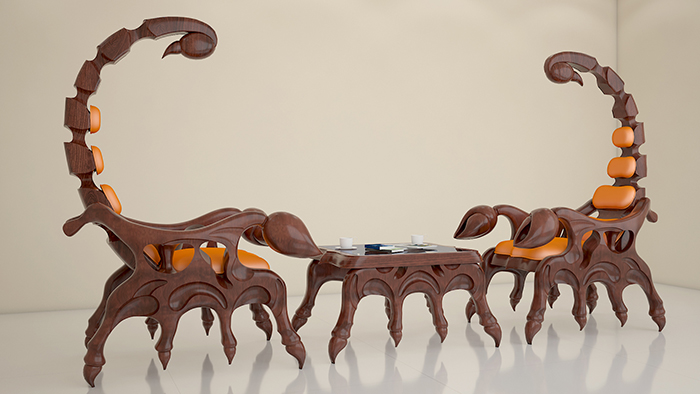 3d model scorpion chair coffee table