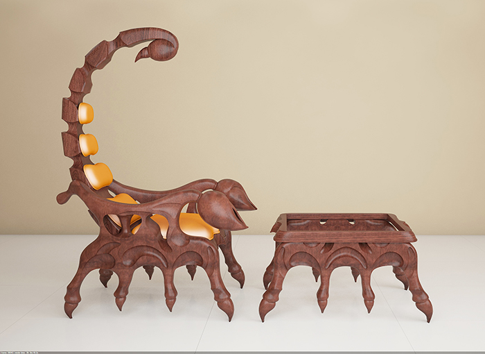 3d model scorpion chair set