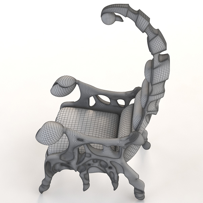 3d photorealistic model scorpion chair side