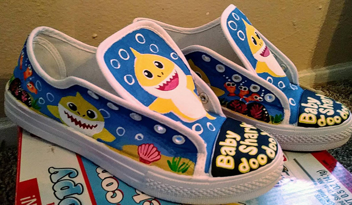 Baby Shark Hand-painted Canvas Sneakers by Munkisoaptokens