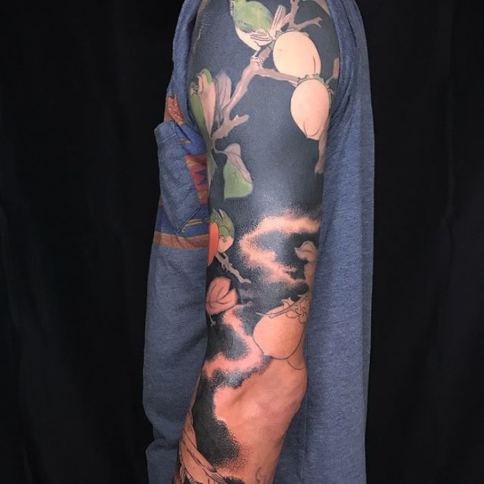 Birds and Persimmons on Black Background Body Art by Esther Garcia