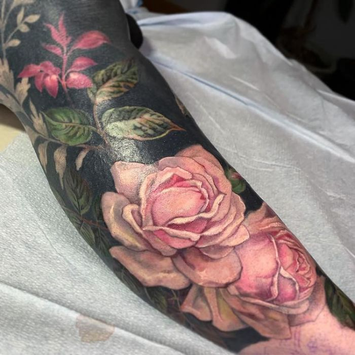 Blackout Tattoo with Flowers by Esther Garcia