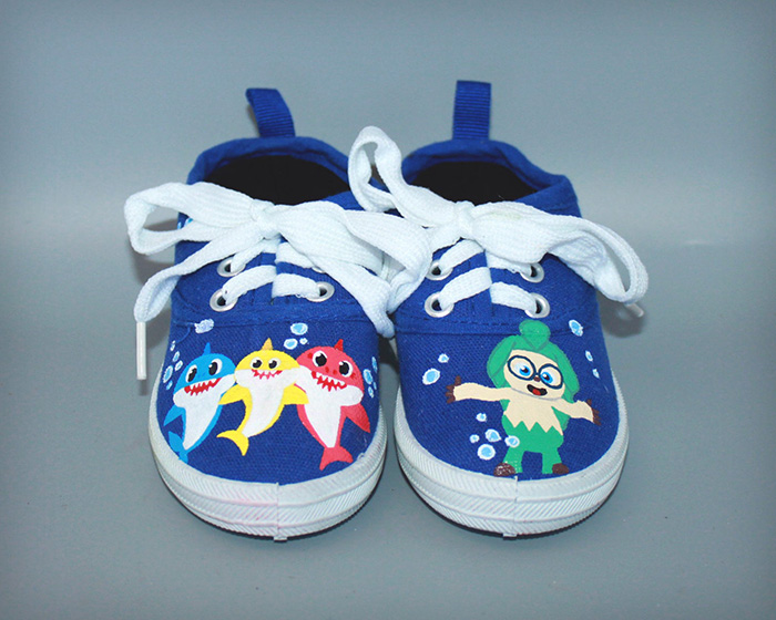 Blue Hand-painted Baby Shark Shoes by CNKmama