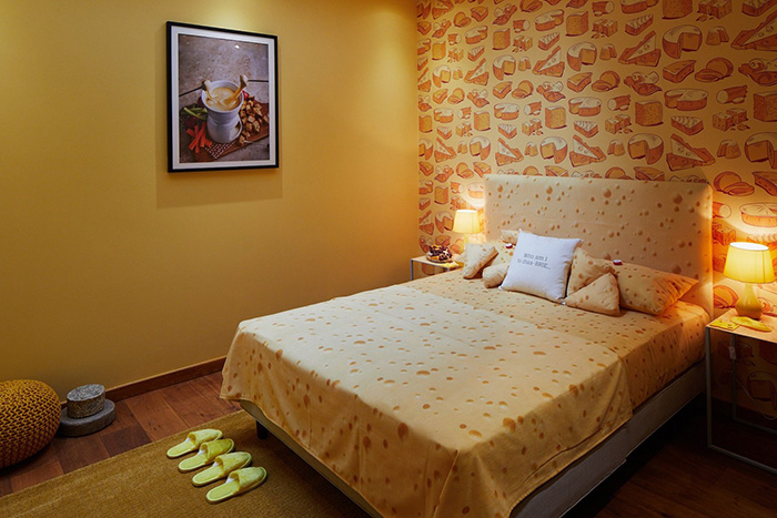 Cheese-themed Hotel Bedroom