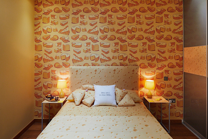 Cheese-themed Hotel Cheese-themed Bed and Wallpaper