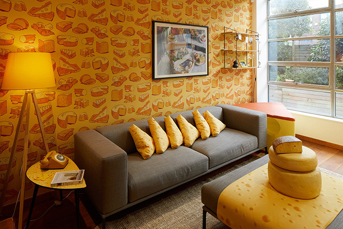 Cheese-themed Hotel Lounge Area