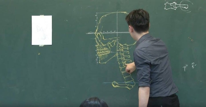 Chuan Bin Chung Drawing a Human Skull