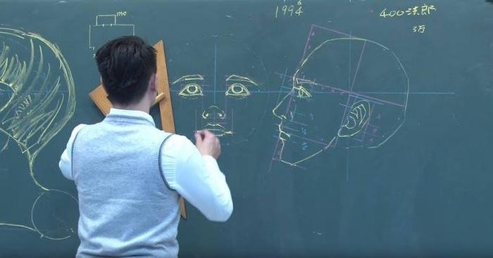 Chuan Bin Chung Human Face Chalkboard Drawing