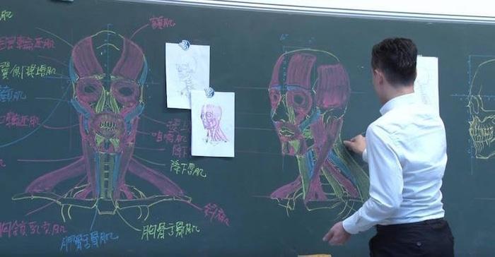Chuan Bin Chung Human Muscular System Chalkboard Drawing