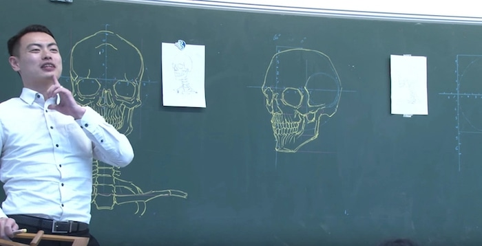 Chuan Bin Chung Human Skull Chalkboard Drawing