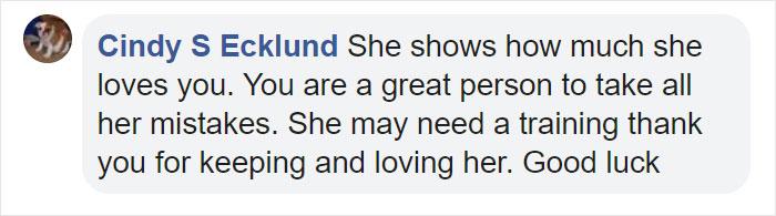 Cindy S Ecklund Facebook Comment