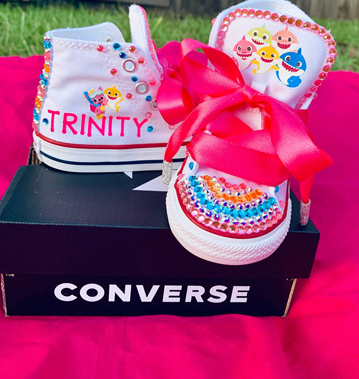 Custom Baby Shark Converse High-top Sneakers for Kids by HeInMeBoutique
