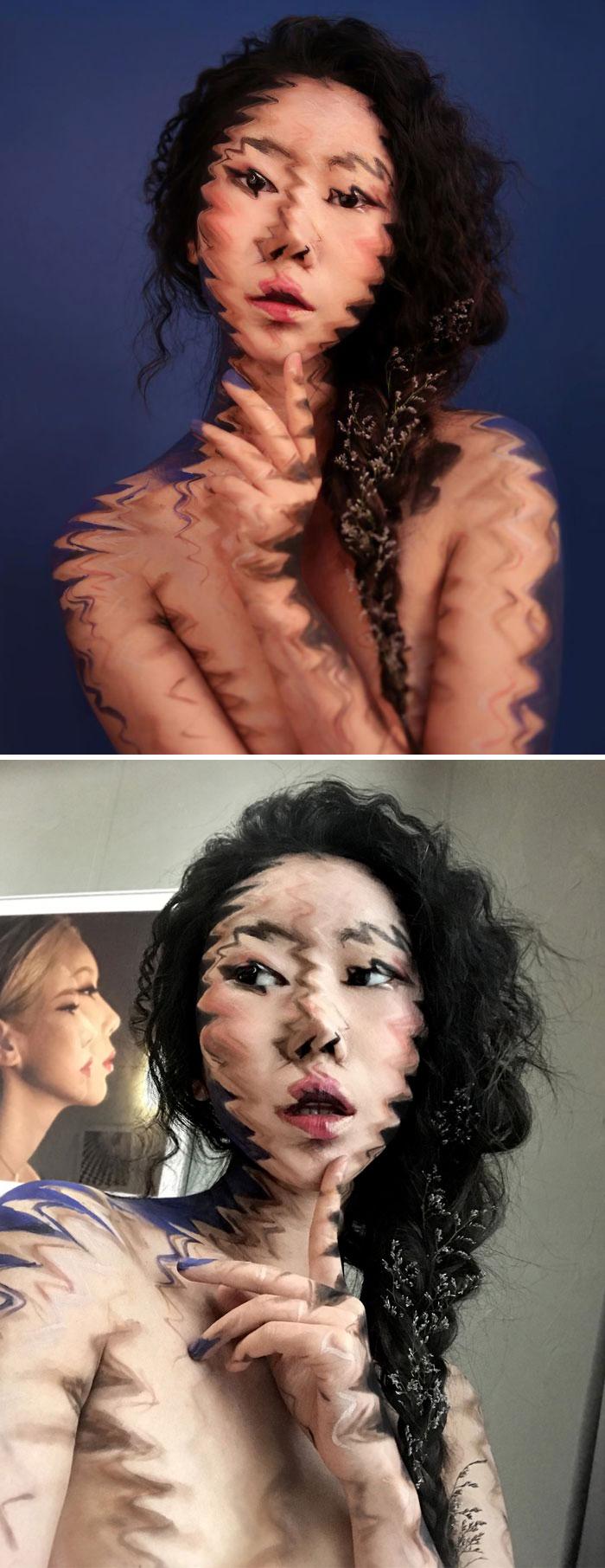 Dain Yoon Optical Illusion Makeup Blurry Face 2