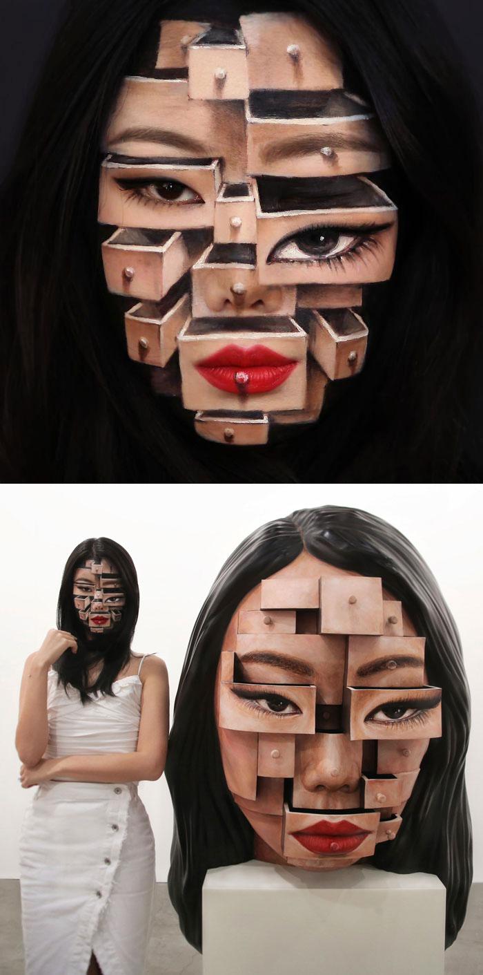 Dain Yoon Optical Illusion Makeup Face Blocks