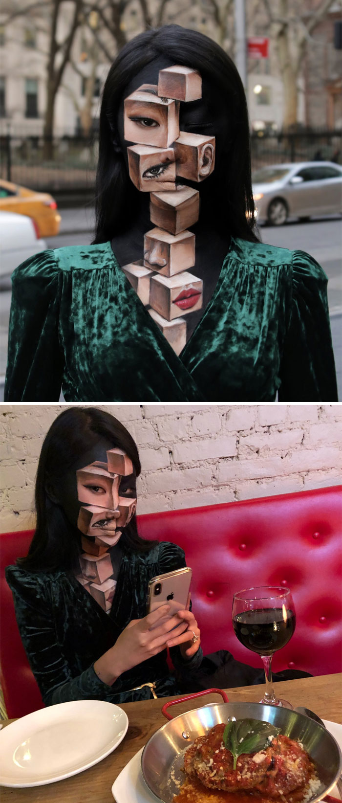 Dain Yoon Optical Illusion Makeup Face with Twisted Blocks