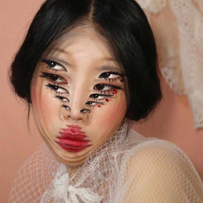 Dain Yoon Optical Illusion Makeup Multiple Overlapping Faces