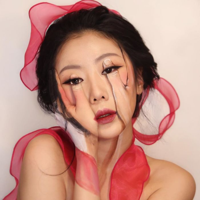 Dain Yoon Optical Illusion Makeup Two Hands on Face
