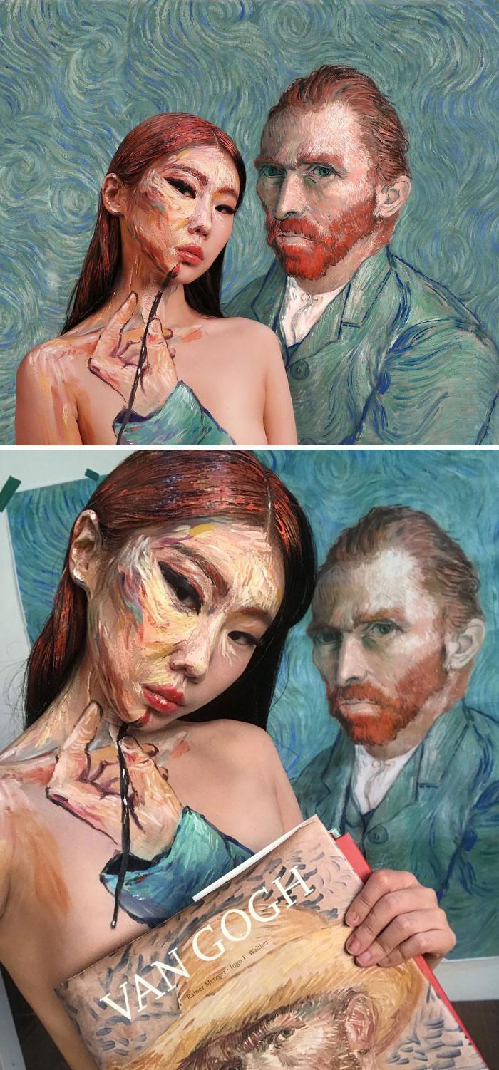 Dain Yoon Optical Illusion Makeup Vincent Van Gogh Painting