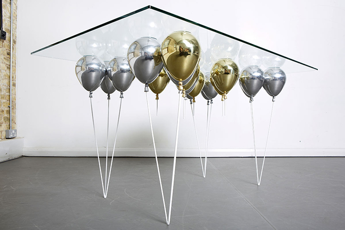 Duffy London UP Balloon Dining Table Gold and Silver