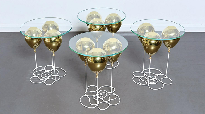 Duffy London UP Balloon Glass Side Tables Gold
