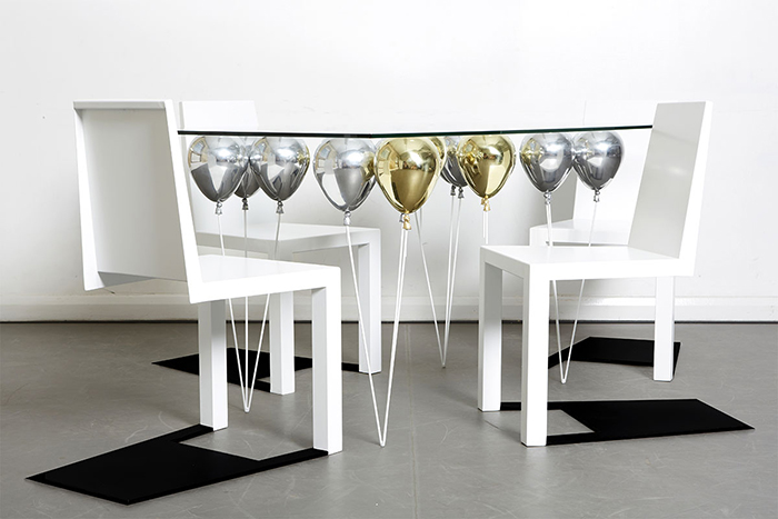 Duffy London UP Balloon Glass Table Gold and Silver